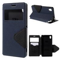 Peňaženkové puzdro s okienkom pre Sony Xperia M4 Aqua - tmavomodré