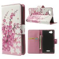 Peňaženkové puzdro pre Sony Xperia L C2105- kvitnúce vetvička