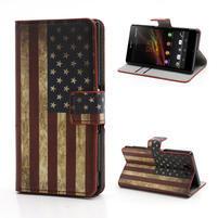 Peňaženkové puzdro pre Sony Xperia Z C6603 - USA vlajka