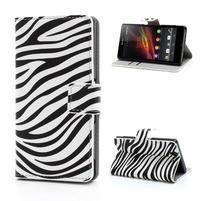 Peňaženkové puzdro pre Sony Xperia Z C6603 - zebrované