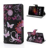 Peňaženkové puzdro pre Sony Xperia Z C6603 - motýľe