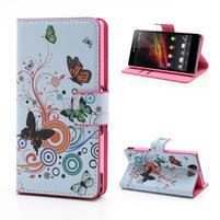 Peňaženkové puzdro pre Sony Xperia Z C6603 - farební motýľe