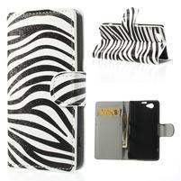 Peňaženkové puzdro pre Sony Xperia Z1 Compact D5503 - zebrované