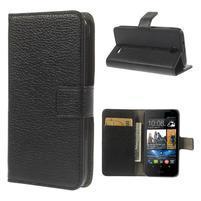 Peňaženkové kožené puzdro pre HTC Desire 310- čierné