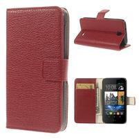 Peňaženkové kožené puzdro pre HTC Desire 310- červené