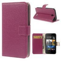 Peňaženkové kožené puzdro na HTC Desire 310- růžové