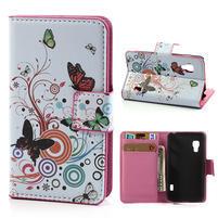 Peňaženkové puzdro pre LG Optimus L5 Dual E455-farební motýľi