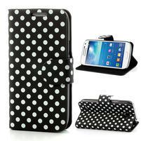 Peňaženkové  puzdro na Samsung Galaxy S4 mini i9190- puntíkaté čierné