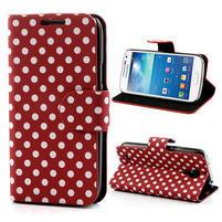 Peňaženkové puzdro na Samsung Galaxy S4 mini i9190- puntíkaté červené