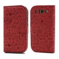 Peňaženkové puzdro na Samsung Galaxy S3 i9300- červené