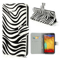 Peňaženkové  puzdro pre Samsung Galaxy Note 3- zebrované