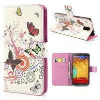 Peňaženkové  puzdro pre Samsung Galaxy Note 3- farebné motýle