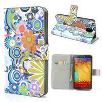 Peňaženkové puzdro na Samsung Galaxy Note 3- farebné květy