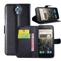 Peňaženkové kožené puzdro na Alcatel One Touch Idol OT-6030D- čierné