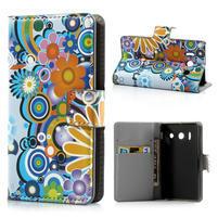 Peňaženkové  puzdro na Huawei Ascend Y300- farebné květy