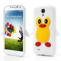 Silikonový Tučniak puzdro pro Samsung Galaxy S4 i9500- biely
