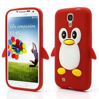 Silikonový Tučniak puzdro pro Samsung Galaxy S4 i9500- červený