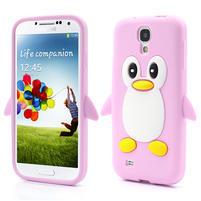Silikonový Tučňák pouzdro pro Samsung Galaxy S4 i9500- světle-růžový