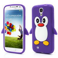 Silikonový Tučňák pouzdro pro Samsung Galaxy S4 i9500- fialový