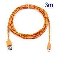 T3 tkaný odolný micro USB kábel s dĺžkou 3 m - oranžový