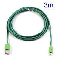 T3 tkaný odolný micro USB kábel s dĺžkou 3 m - zelený/fialový