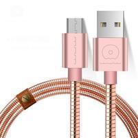 Luxusní kovový micro USB kábel pre nabíjanie a synchronizáciu - zlatoružový