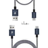DUX vysokorýchlostný nábíjací a prepojovací kábely micro USB / 1 m + 0.2 m - tmavomodrý