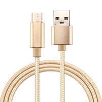 Texture tkaný micro USB Type-c kábel pre nabíjanie a synchronizáciu / 2m - zlatý