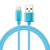 Texture tkaný micro USB Type-c kábel pre nabíjanie a synchronizáciu / 2m - modrý