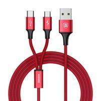 BSX nabíjací a prepojovací kábel na USB Type-C a micro USB - červený