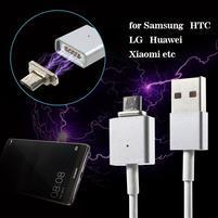Magnetický USB vs. Micro USB prepojovací kabel - 1m - biely