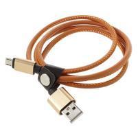 Rich koženkou potiahnutý micro USB kabel pre rychlé dobíjanie a synchronizáciu 1 m -