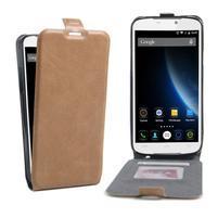 GT flipové PU kožené pouzdro na mobil Doogee X6 - hnědé