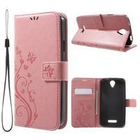 Butterfly PU kožené puzdro pre mobil Doogee X6 - ružové