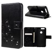 Floay PU kožené puzdro s kamienky pre mobil Honor 8 - čierné