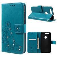 Floay PU kožené puzdro s kamienky pre mobil Honor 8 - modré