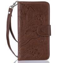 Paisley peňaženkové puzdro pro Huawei P8 Lite - hnedé