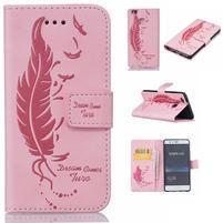 Pierko PU kožené puzdro na Huawei P9 Lite - ružové