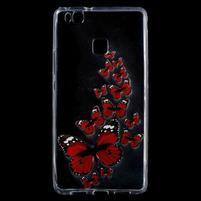 Patty gelový obal na mobil Huawei P9 Lite - červení motýlci