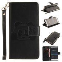 Panda PU kožené peněnženkové pouzdro na Huawei P9 Lite - černé