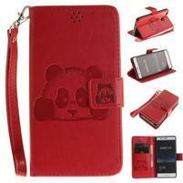 Panda PU kožené peněnženkové pouzdro na Huawei P9 Lite - červené