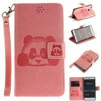Panda PU kožené peněnženkové pouzdro na Huawei P9 Lite - růžové
