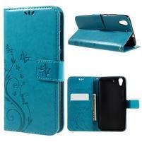 Butterfly PU kožené puzdro na Huawei Y6 II - modré