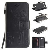 Dandelion PU kožené puzdro na mobil Huawei Y3 II - čierne