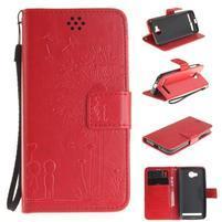Dandelion PU kožené puzdro na mobil Huawei Y3 II - červené