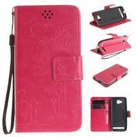 Dandelion PU kožené puzdro na mobil Huawei Y3 II - rose