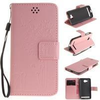 Dandelion PU kožené puzdro na mobil Huawei Y3 II - růžové