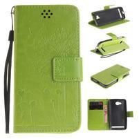 Dandelion PU kožené puzdro na mobil Huawei Y3 II - zelené