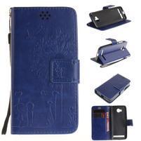 Dandelion PU kožené puzdro na mobil Huawei Y3 II - modré
