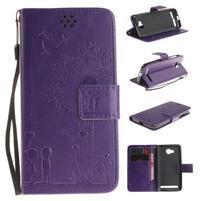 Dandelion PU kožené puzdro na mobil Huawei Y3 II - fialové